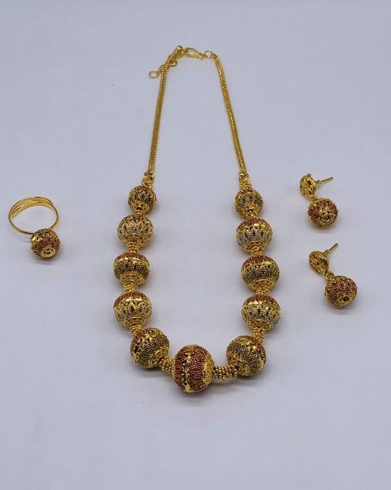 Lina 22K Gold Plated Jewellery Set - Jewellery sets - STYLE 2029