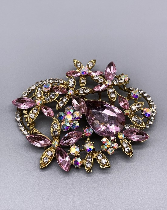 Large Gold Crystal Brooch - Brooches - BR000