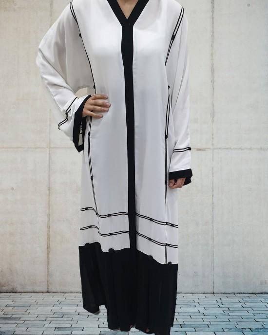 Black and White open abaya - Abayas - BW2020