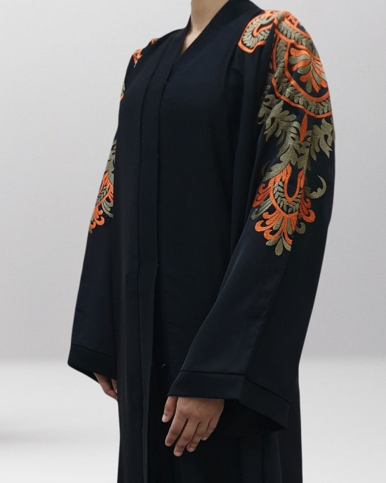 Najad black and orange open abaya style UK - Abayas - NJ19