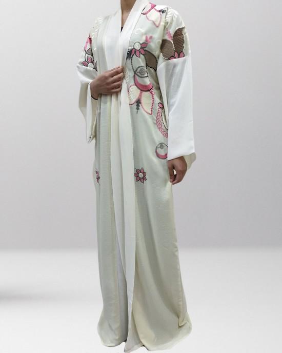 Joelle Fresh cream kimono abaya Style UK - Abayas - JL19