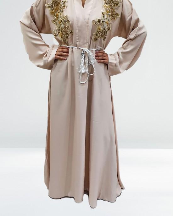 Cream Floral Abaya - Abayas - AS2020