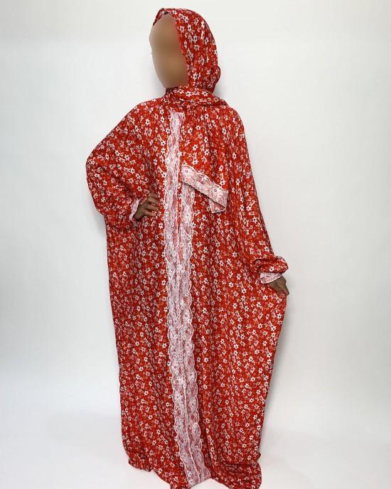 Lace Trim Cotton One Piece Floral Prayer Dress