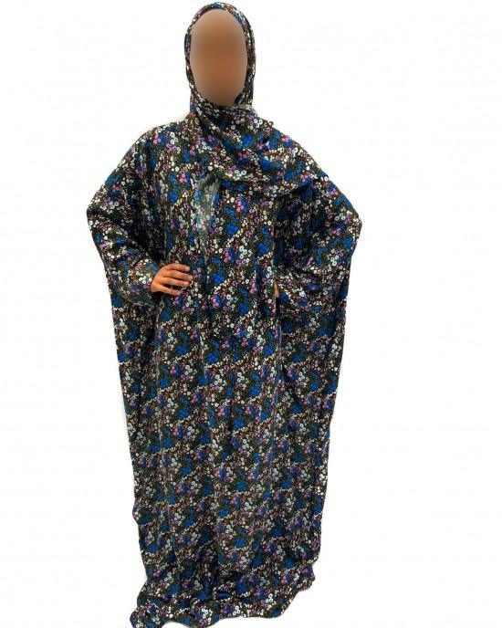 Cotton Floral Prayer Dress - Blue Print