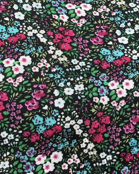 Cotton Floral Prayer Dress - Forest