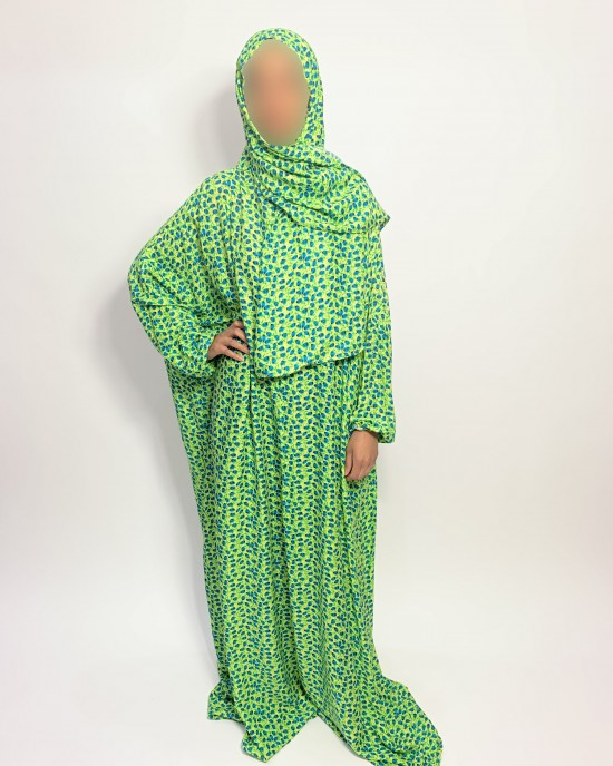 Cotton Floral Prayer Dress - Lime