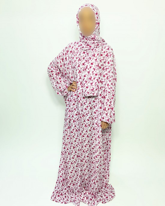 Cotton Floral Prayer Dress - Magenta Rose