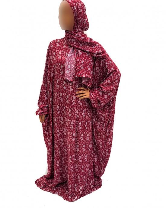 Cotton Floral Prayer Dress - Plum Print