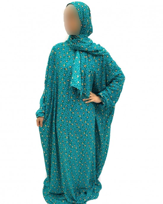 Cotton Floral Prayer Dress - Turquoise Green
