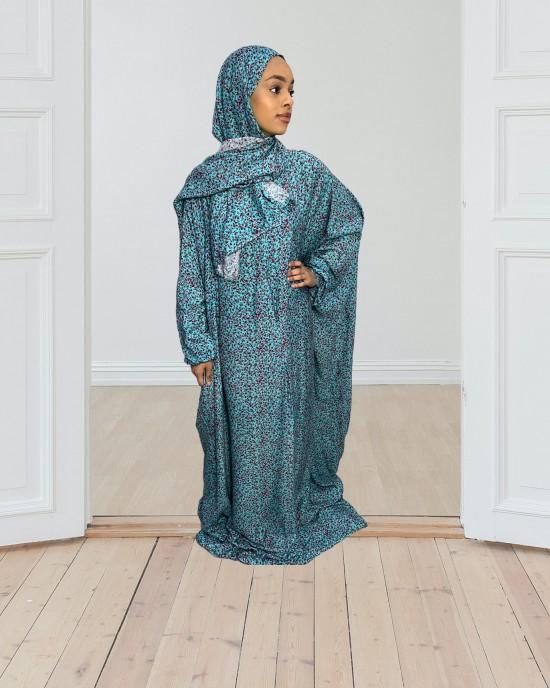 Cotton Floral Prayer Dress - Turquoise