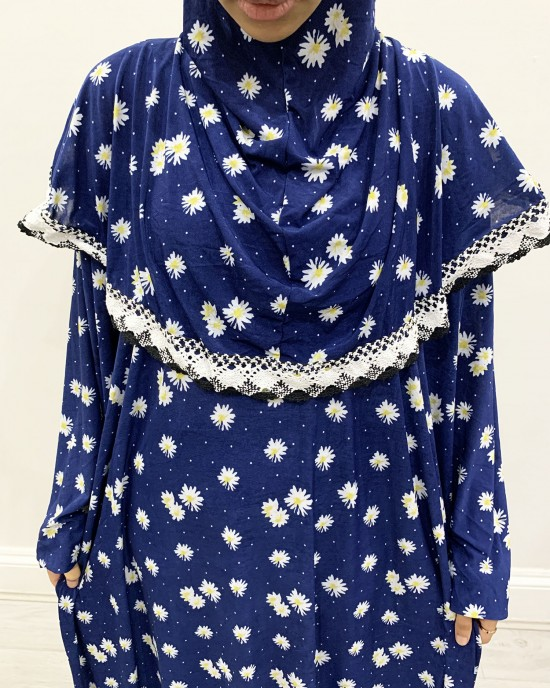 One Piece Navy Sun Flower Prayer Dress Cotton Jersey - Prayer Dress - PD202
