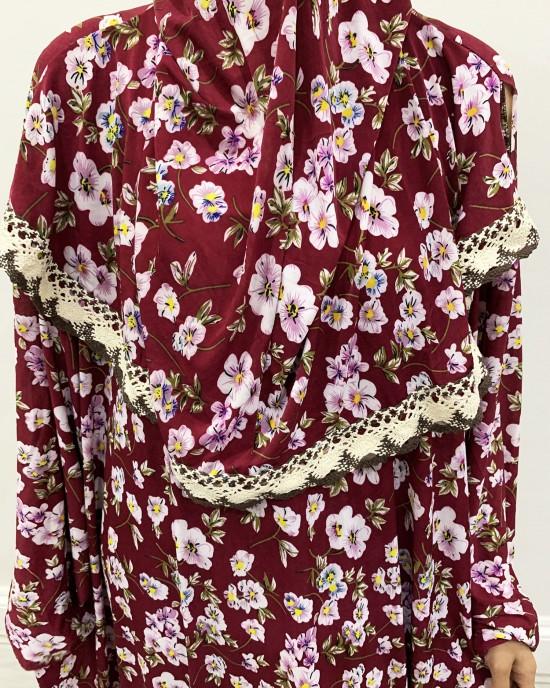 One Piece Plum Floral Cotton Jersey Prayer Dress - Prayer Dress - PD201