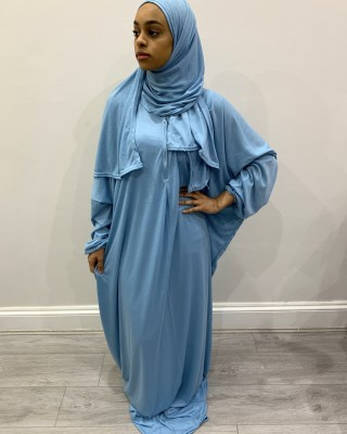 One Piece Sky Blue Prayer Dress With Attached Hijab