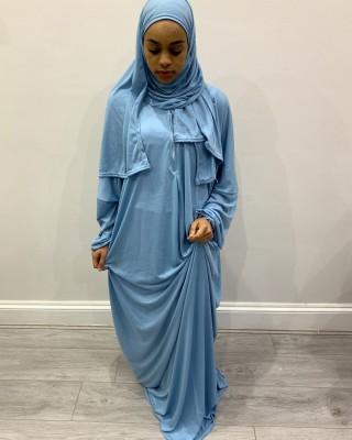 One Piece Sky Blue Prayer Dress With Attached Hijab