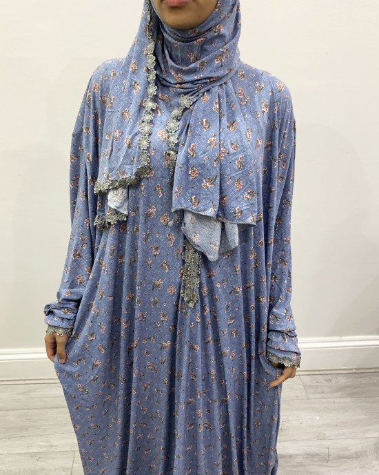 One Piece Soft Blue Prayer Dress With Attached Hijab -  - PD006