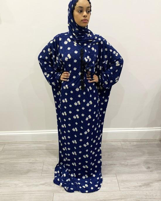 One Piece Dark Blue Prayer Dress With Attached Hijab - Prayer Dress - PD002