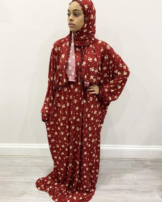 One Piece Red Prayer Dress With Attached Hijab - Prayer Dress - PD007