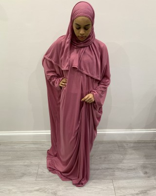 One Piece Dusty Pink Prayer Dress With Attached Hijab