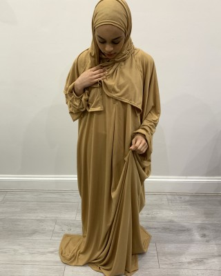 One Piece Macaroon Prayer Dress With Attached Hijab