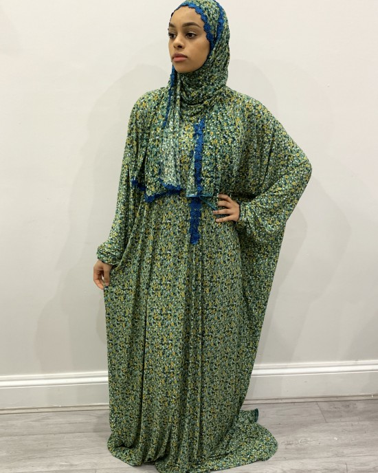 One Piece Green Prayer Dress With Attached Hijab -  - PD009