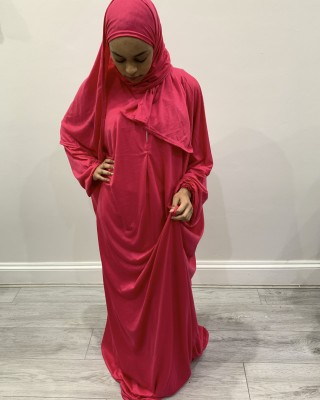 One Piece Hot Pink Prayer Dress With Attached Hijab