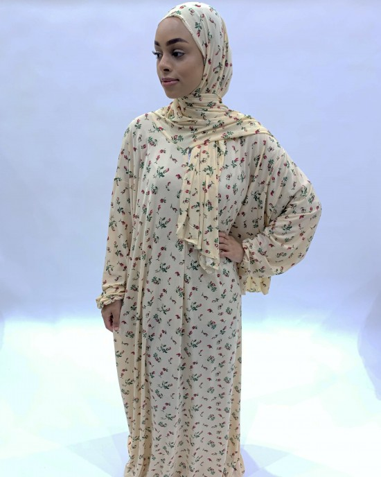 Buttermilk Yellow One Piece Prayer Dress With Attached Scarf