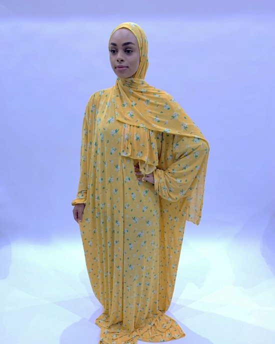 Tuscany Yellow One Piece Prayer Dress With Attached Scarf