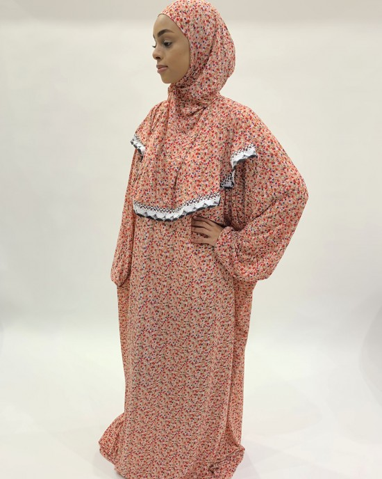 Coral Slip-On One Piece Prayer Dress With Attached Hijab