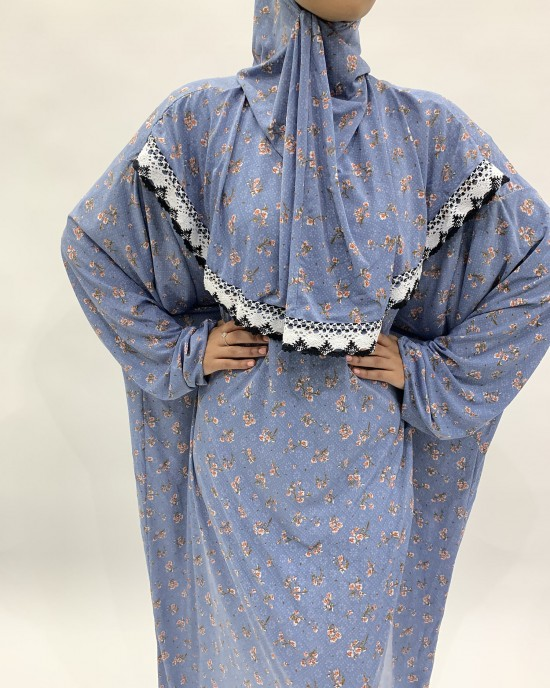 Soft Blue Slip-On One Piece Prayer Dress With Attached Hijab