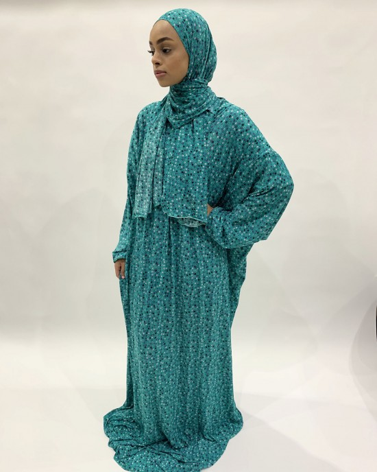 TEAL ONE PIECE PRAYER DRESS WITH ATTACHED SCARF