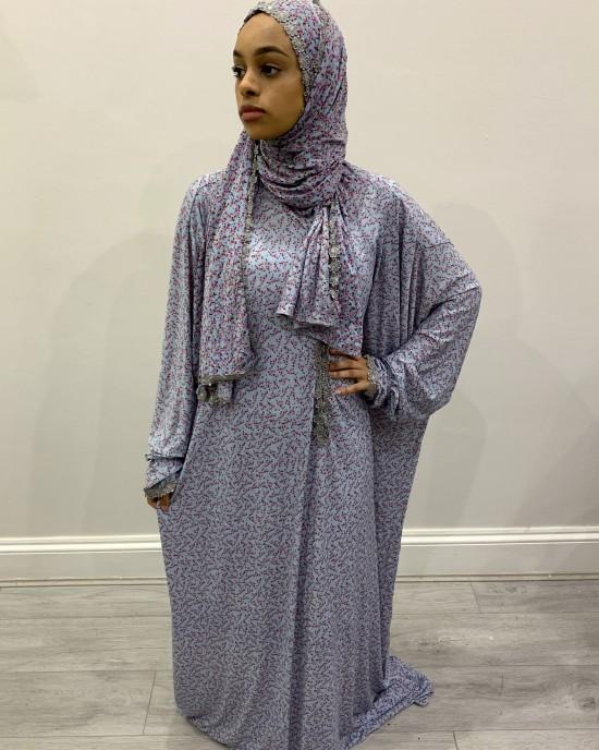 One Piece Pink Floral Prayer Dress With Attached Hijab - Prayer Dress - PD011