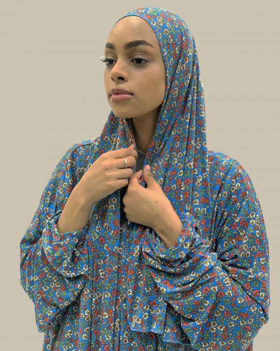 Corn Blue Floral One Piece Prayer Dress With Attached Scarf