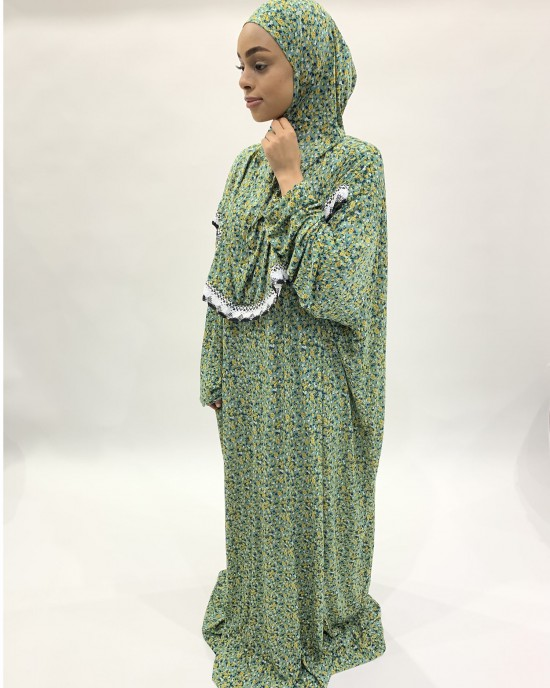 Green Slip-On One Piece Prayer Dress With Attached Hijab