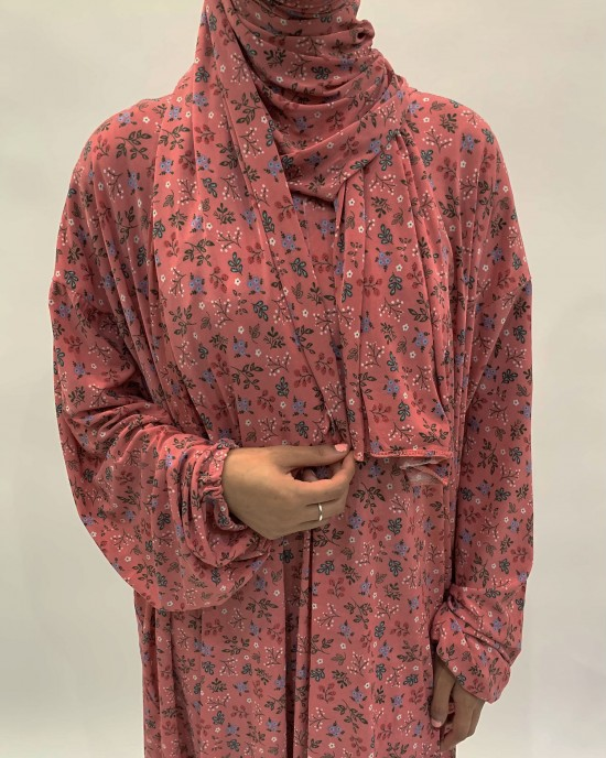 Pink Rose Floral One Piece Prayer Dress With Attached Scarf
