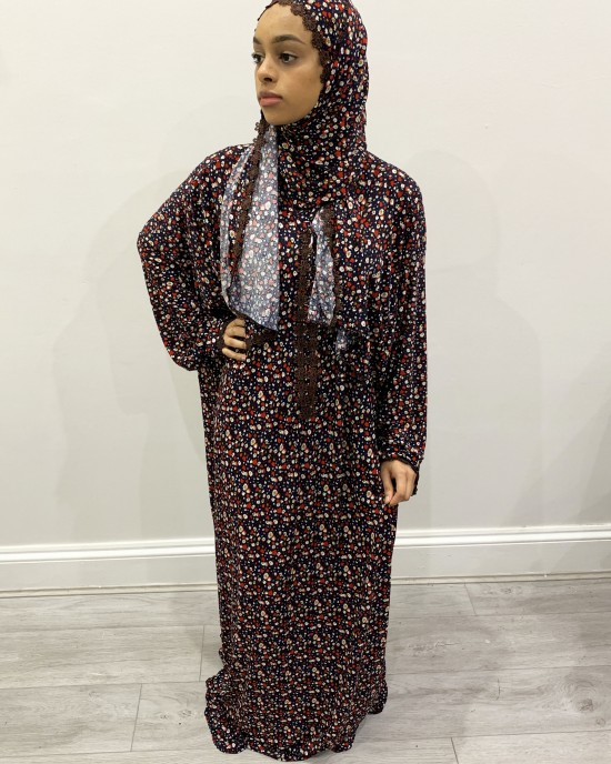One Piece Floral Prayer Dress With Attached Hijab - Prayer Dress - PD005