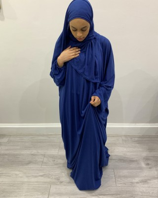 One Piece Royal Blue Prayer Dress With Attached Hijab