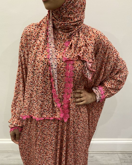 One Piece Coral Prayer Dress With Attached Hijab - Prayer Dress - PD010