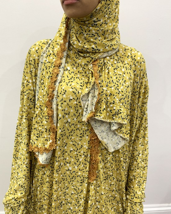 One Piece Mustard Prayer Dress With Attached Hijab -  - PD004