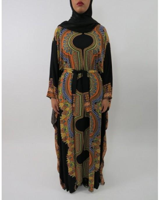 Amani's Black Soft Cotton Kaftan Style Maxi Dress UK