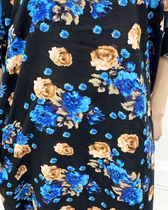 Black And Blue Floral Bati Cotton Maxi Dress - Bati Dresses - BATI005