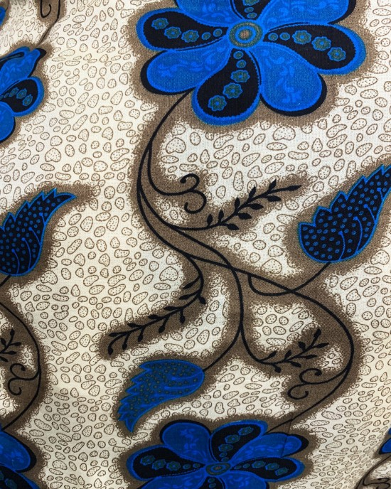Blue Floral Print Bati Cotton Maxi Dress - Bati Dresses - BATI018