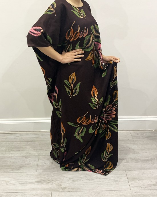 Brown Leaf Print Bati Cotton Maxi Dress - Bati Dresses - BATI026