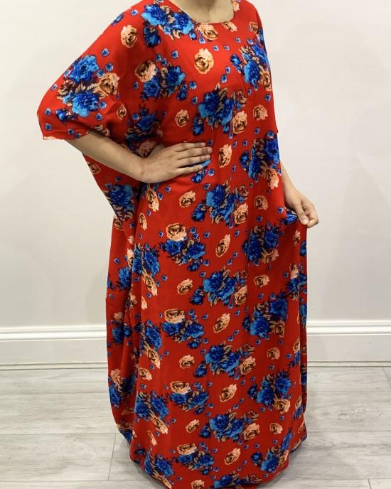 Red And Blue Floral Bati - Bati Dresses - BATI004