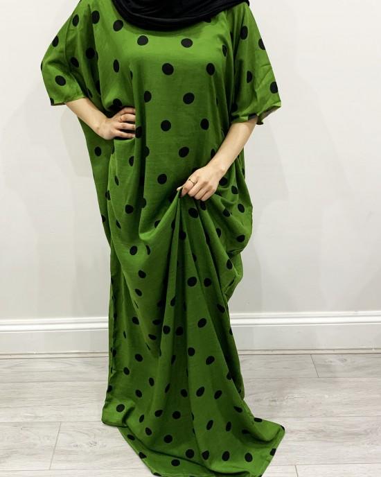 Green Polka Dot Bati Cotton Maxi Dress - Bati Dresses - BATI019
