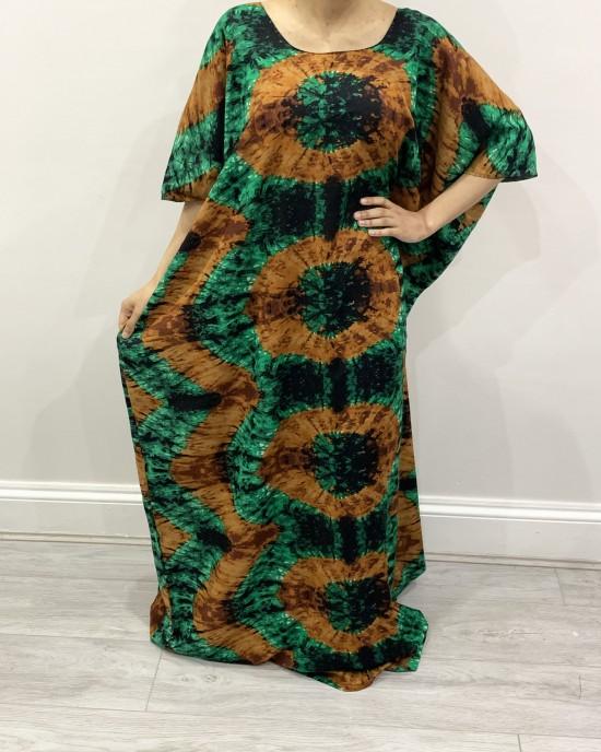 Green African Print Bati Cotton Maxi Dress - Bati Dresses - BATI007
