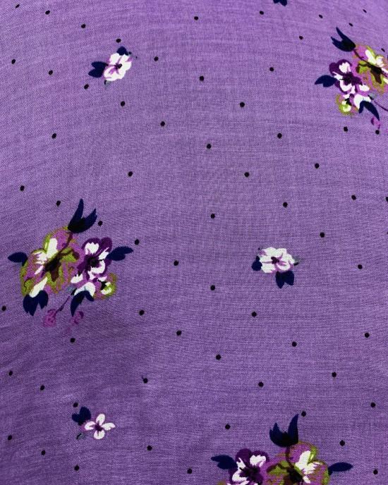 Lavender Floral Print Bati Cotton Maxi Dress - Bati Dresses - BATI017