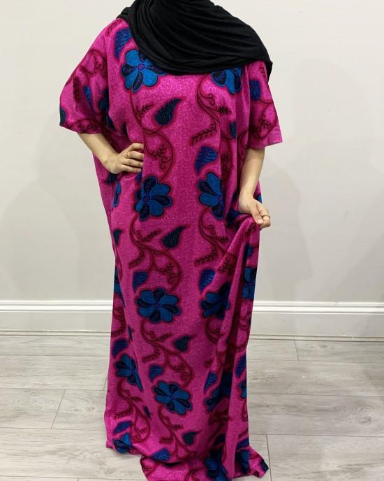 Magenta Floral Print Bati Cotton Maxi Dress - Bati Dresses - BATI021