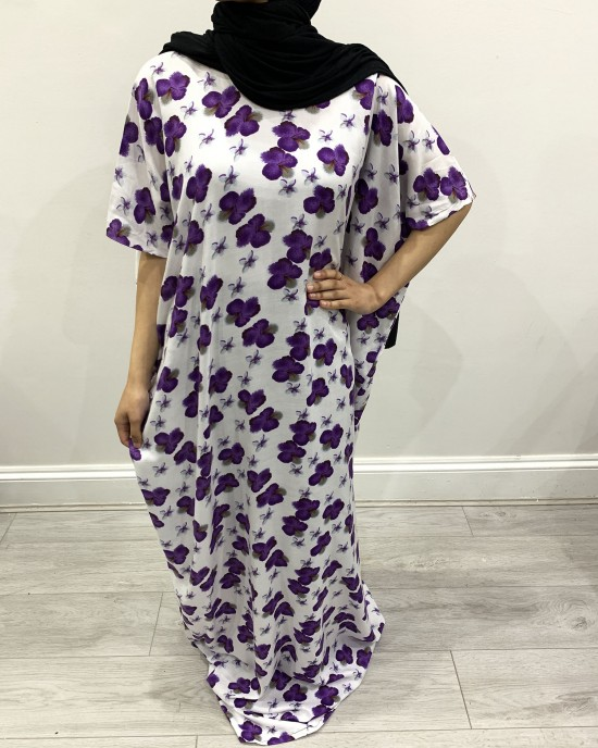 Purple Floral Print Bati Cotton Maxi Dress - Bati Dresses - BATI024