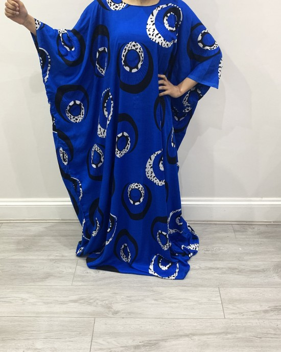 Royal Blue Print Farasha Bati Cotton Maxi Dress - Bati Dresses - BATI013