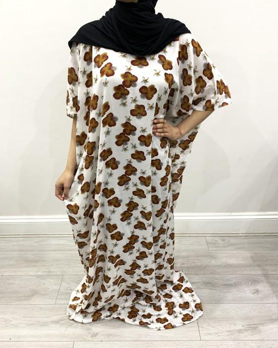 Tawny Floral Print Bati Cotton Maxi Dress - Bati Dresses - BATI022
